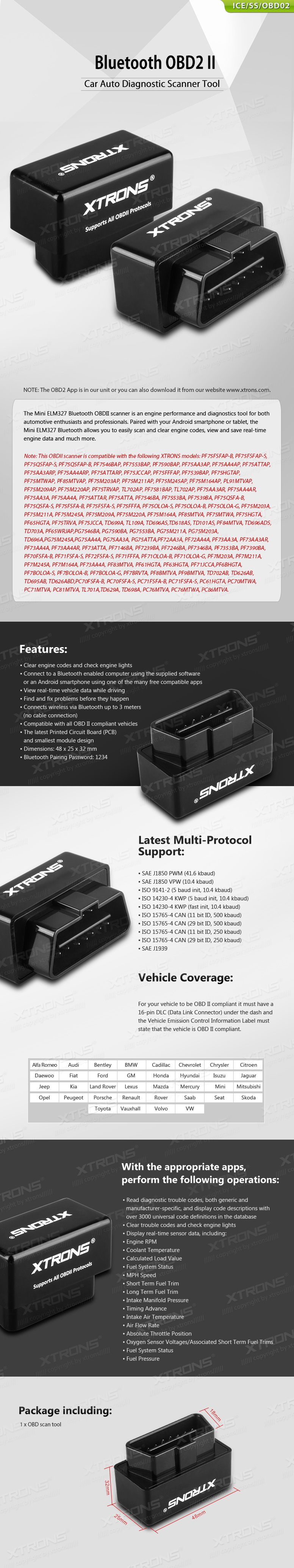 Bluetooth OBD2 II Car Auto Diagnostic Scanner Tool for Xtrons Android Units